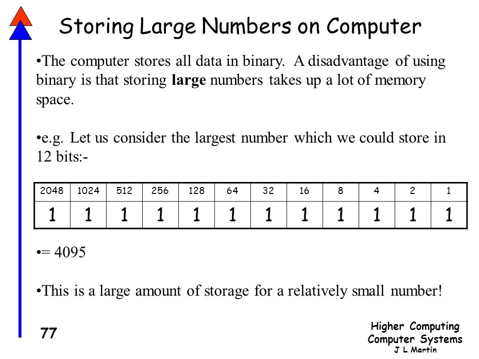 Storing Large Numbers on Computer