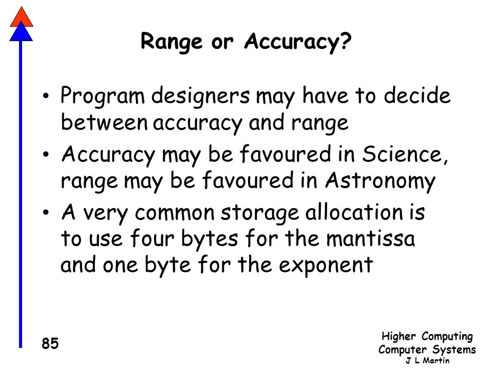 Range or Accuracy Program designers may have to decide between accuracy and range.
