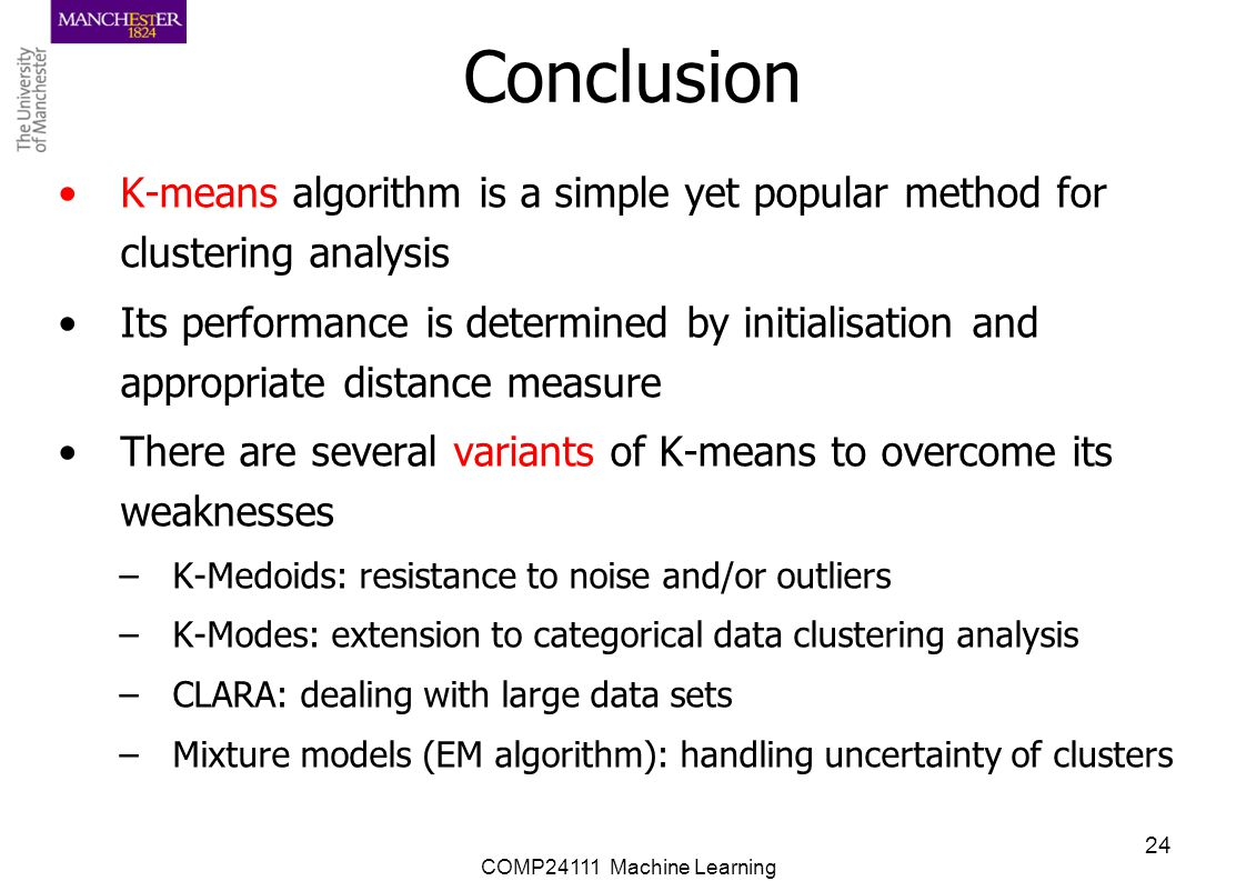 Conclusion K-means algorithm is a simple yet popular method for clustering analysis.