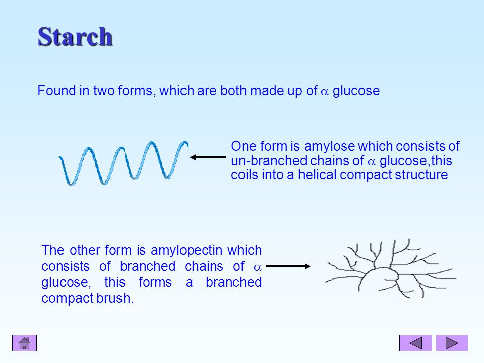 Starch Found in two forms, which are both made up of  glucose