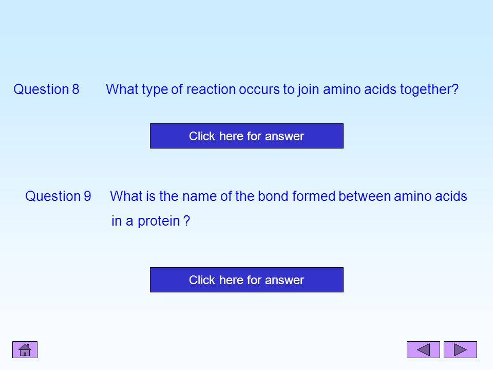 Question 8 What type of reaction occurs to join amino acids together