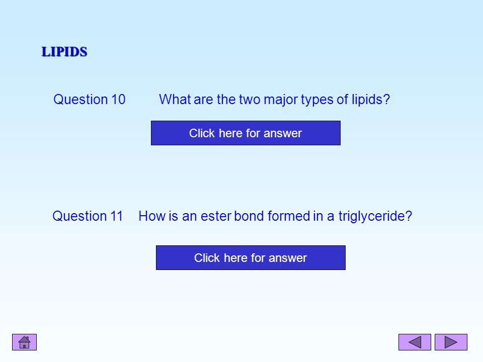 Question 10 What are the two major types of lipids