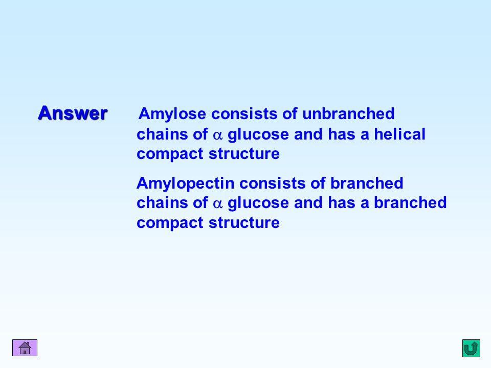 Q5 Answer Amylose consists of unbranched chains of  glucose and has a helical compact structure.