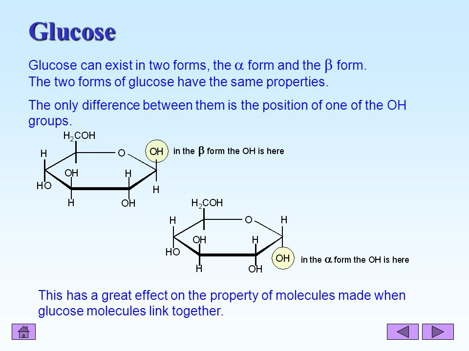 Glucose Glucose can exist in two forms, the  form and the  form.