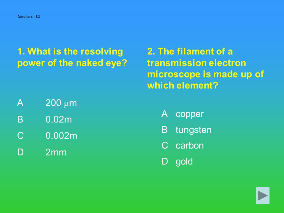 1. What is the resolving power of the naked eye