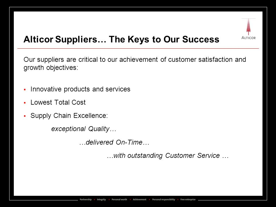 Alticor Suppliers… The Keys to Our Success