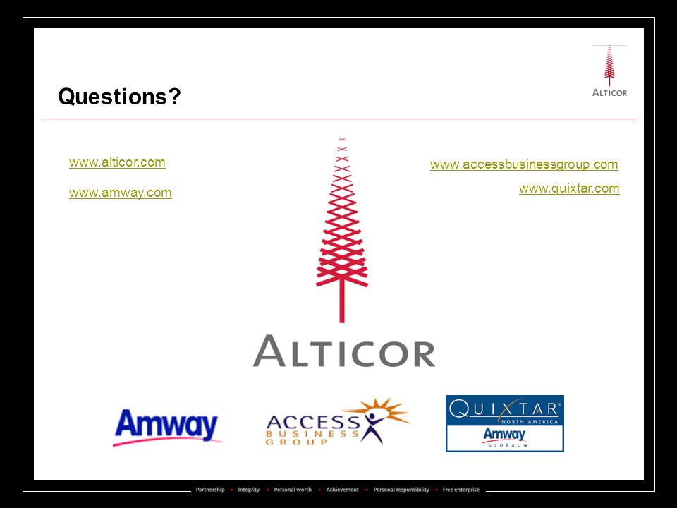 Add ACE Questions www.alticor.com www.accessbusinessgroup.com