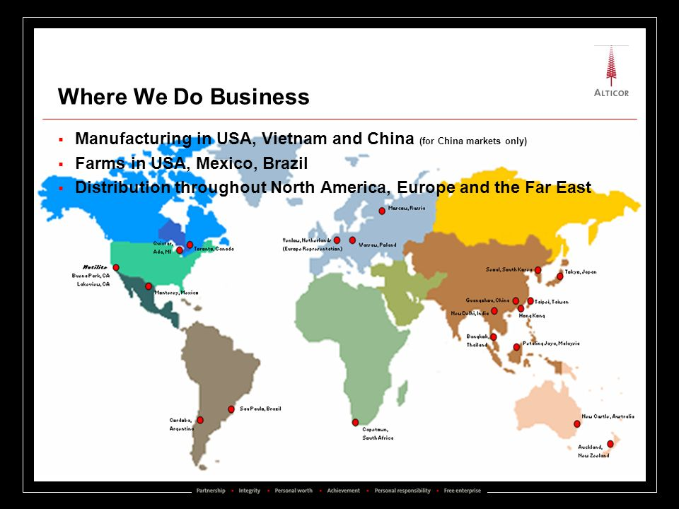 Where We Do Business Manufacturing in USA, Vietnam and China (for China markets only) Farms in USA, Mexico, Brazil.