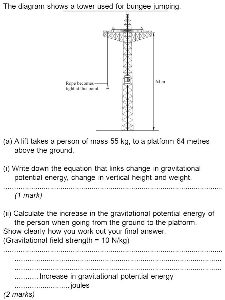 The diagram shows a tower used for bungee jumping.