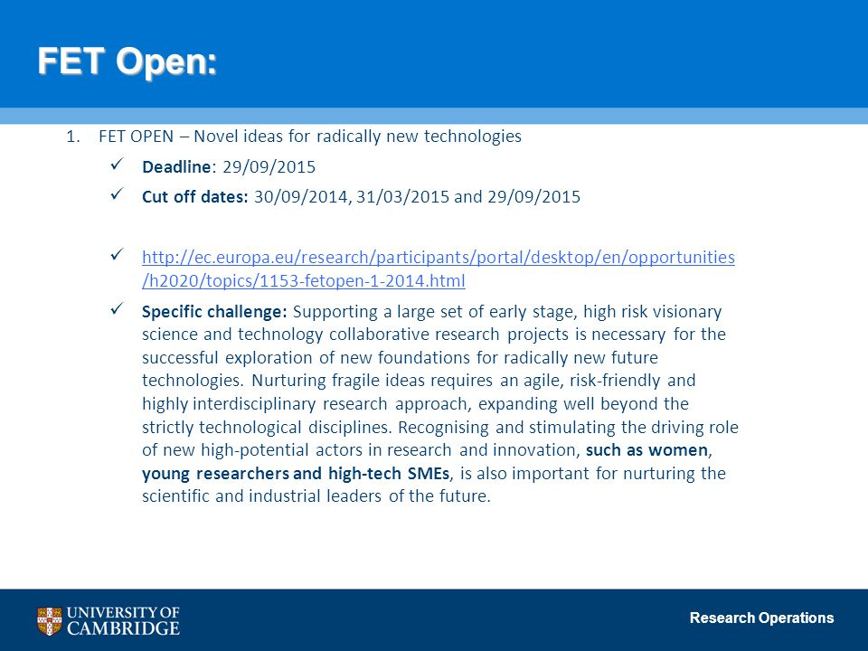 FET Open: FET OPEN – Novel ideas for radically new technologies