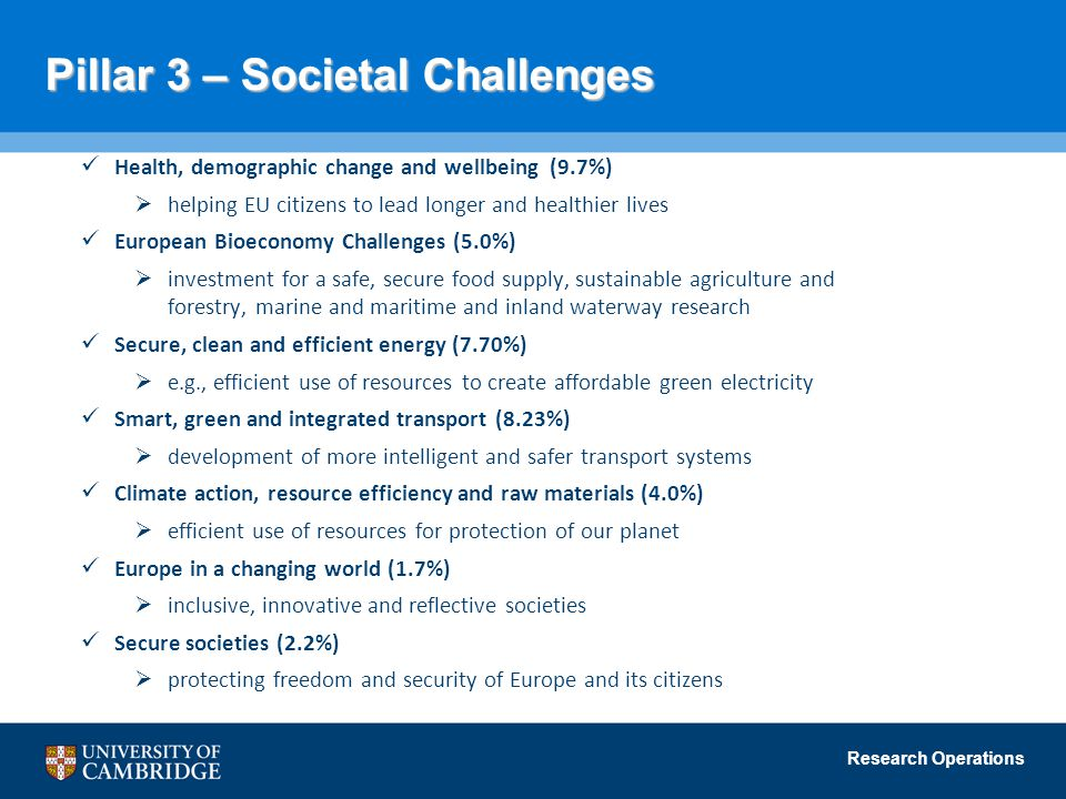 Pillar 3 – Societal Challenges