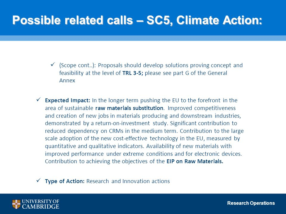 Possible related calls – SC5, Climate Action: