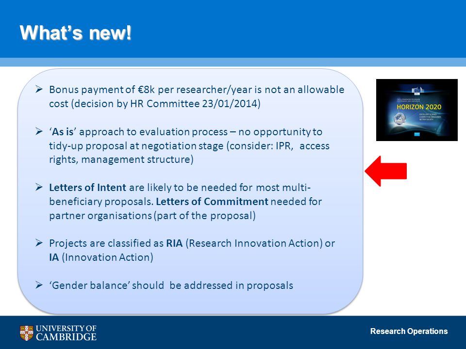 What's new! Bonus payment of €8k per researcher/year is not an allowable cost (decision by HR Committee 23/01/2014)