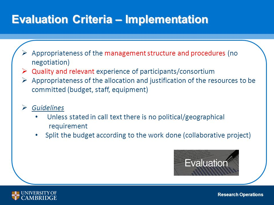 Evaluation Criteria – Implementation