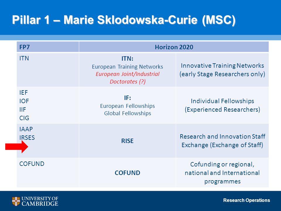 Pillar 1 – Marie Sklodowska-Curie (MSC)