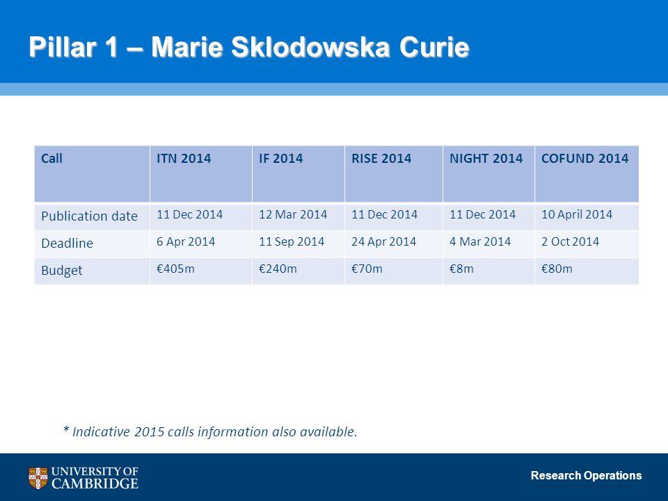 Pillar 1 – Marie Sklodowska Curie