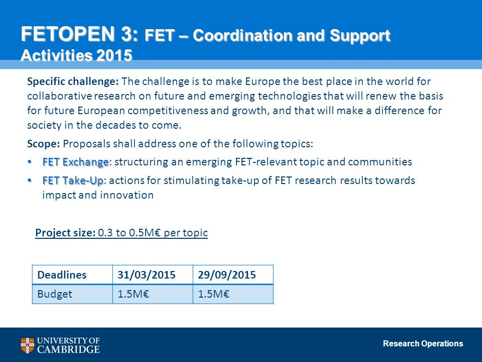 FETOPEN 3: FET – Coordination and Support Activities 2015