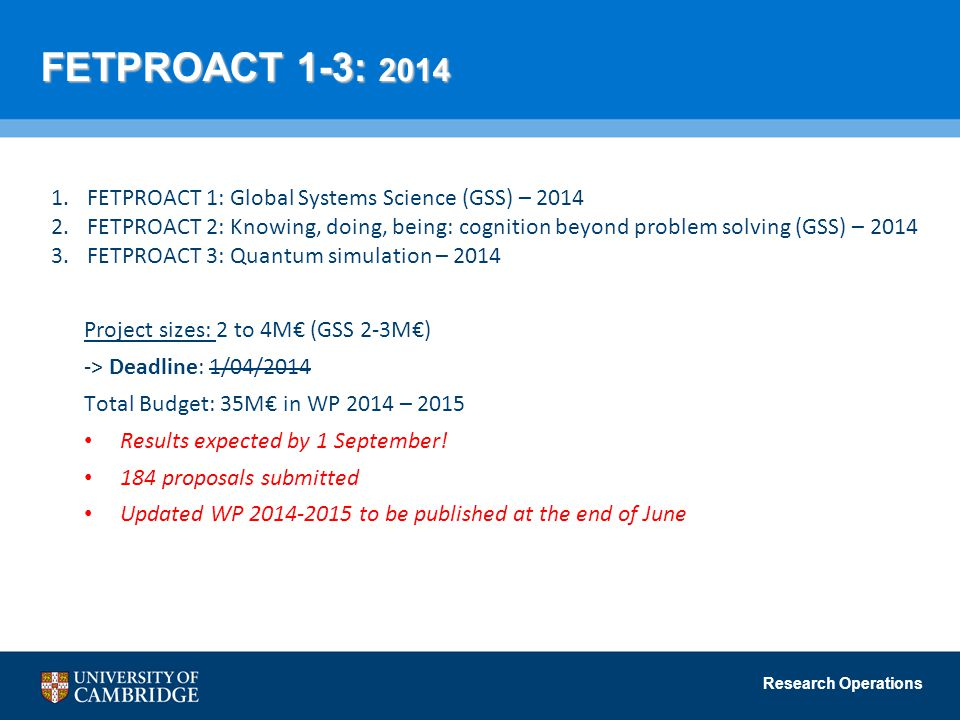 FETPROACT 1-3: 2014 FETPROACT 1: Global Systems Science (GSS) – 2014