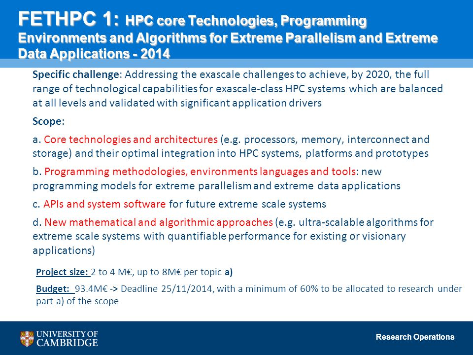 FETHPC 1: HPC core Technologies, Programming Environments and Algorithms for Extreme Parallelism and Extreme Data Applications - 2014
