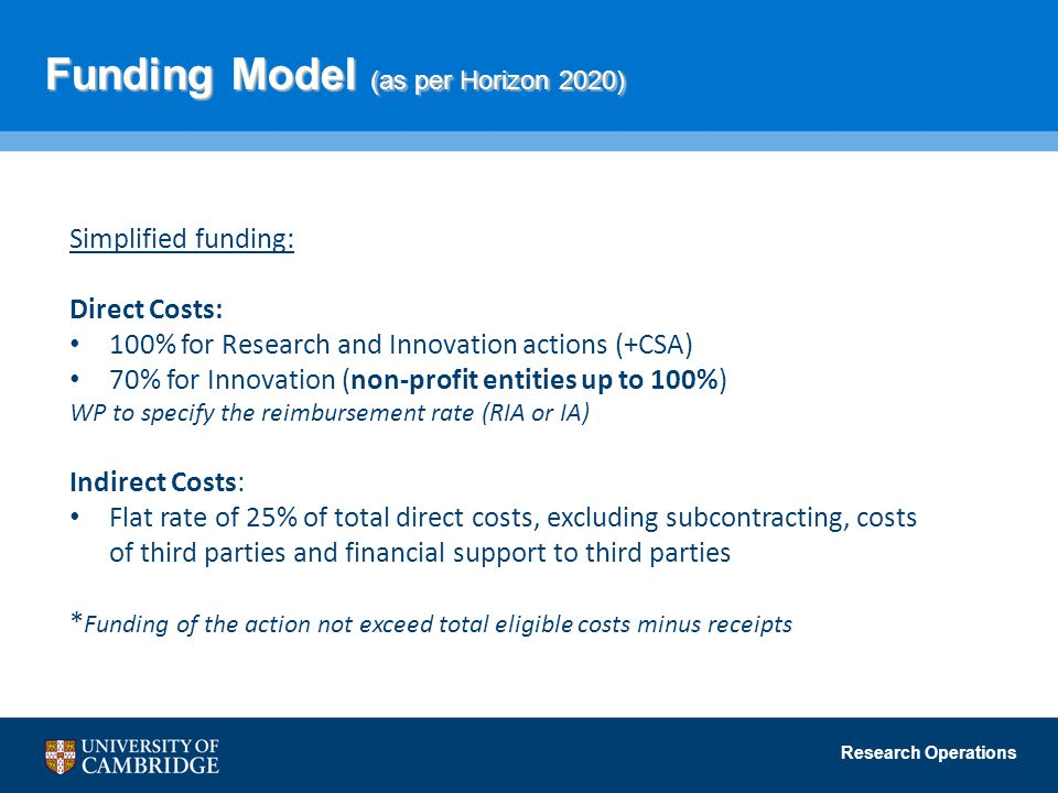 Funding Model (as per Horizon 2020)