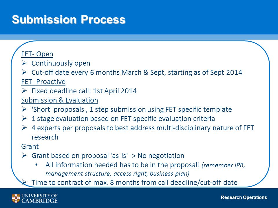 Submission Process FET- Open Continuously open