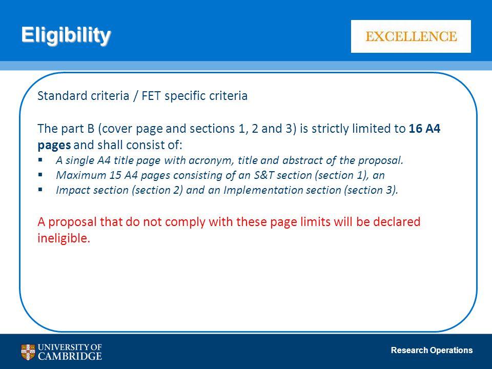 Eligibility Standard criteria / FET specific criteria