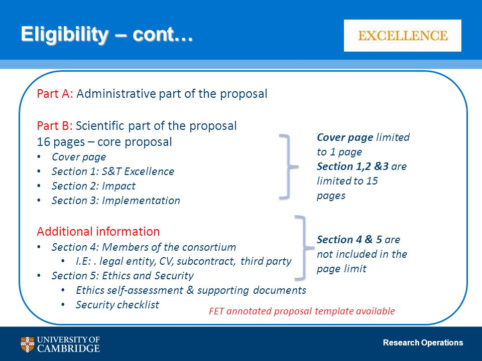Eligibility – cont… Part A: Administrative part of the proposal