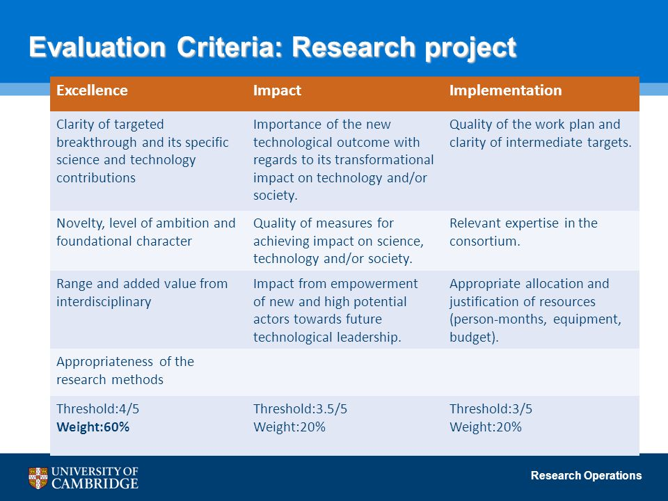 Evaluation Criteria: Research project