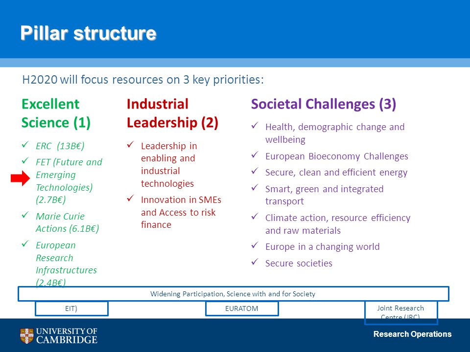 Pillar structure Excellent Science (1) Industrial Leadership (2)