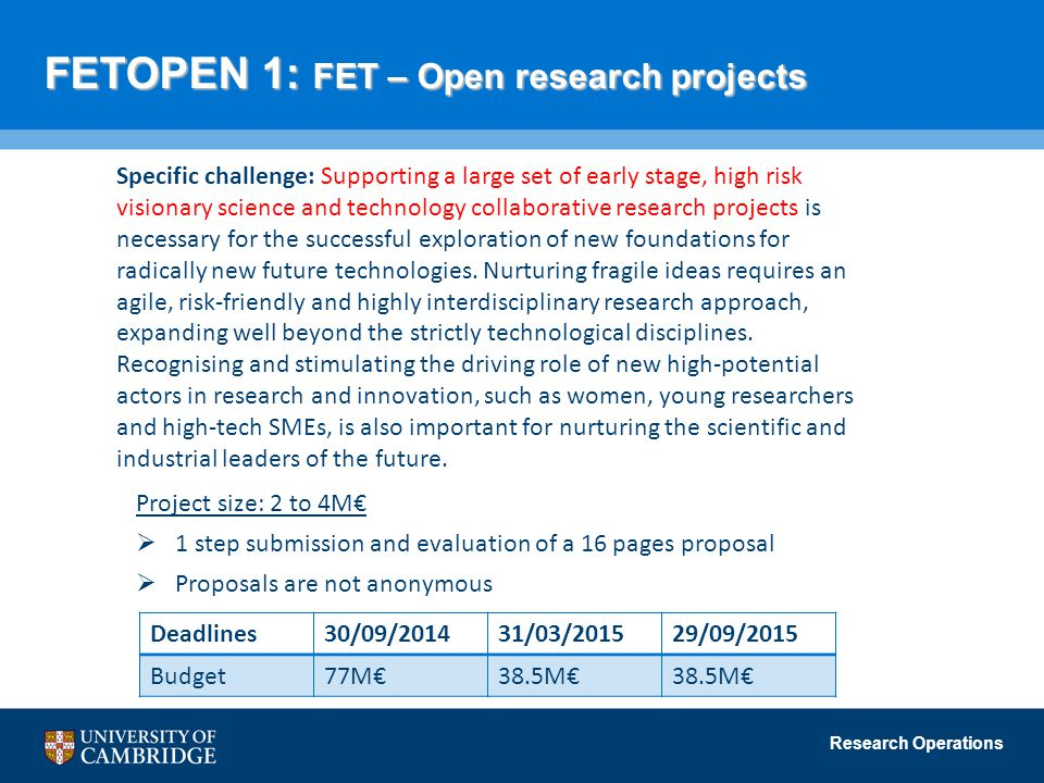 FETOPEN 1: FET – Open research projects