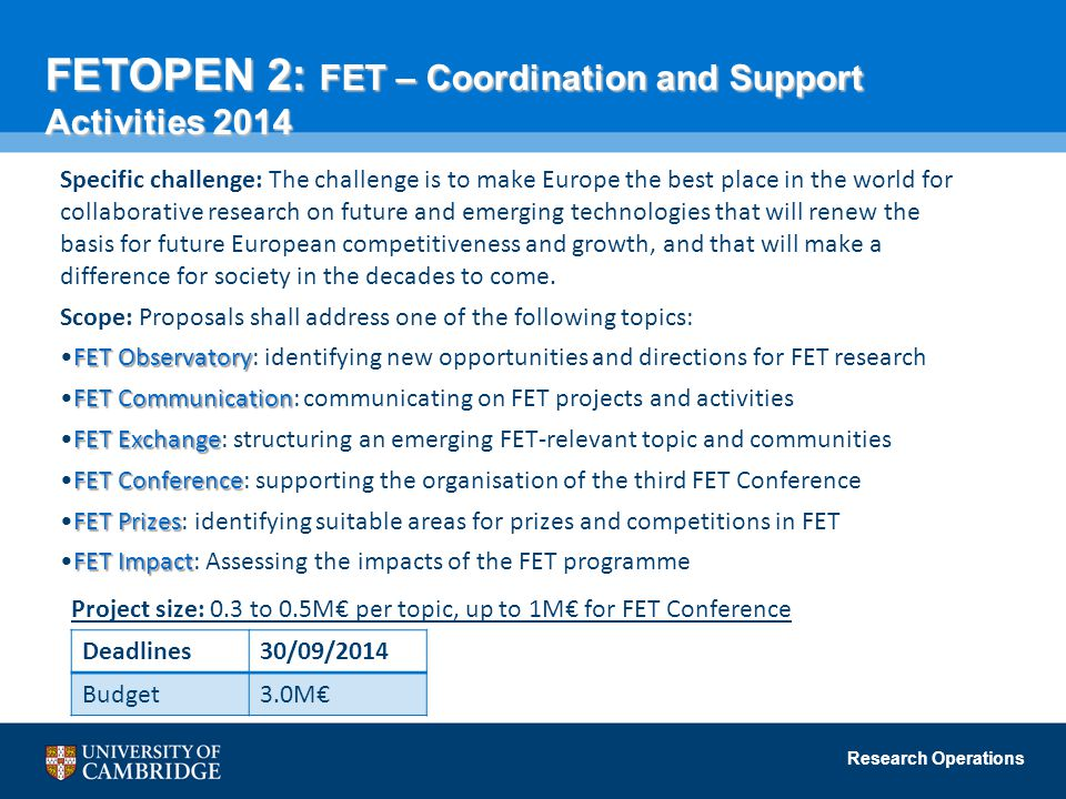 FETOPEN 2: FET – Coordination and Support Activities 2014