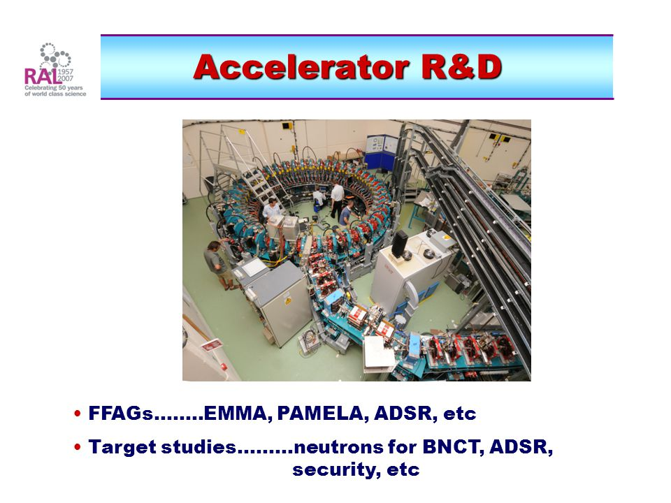 Accelerator R&D FFAGs........EMMA, PAMELA, ADSR, etc