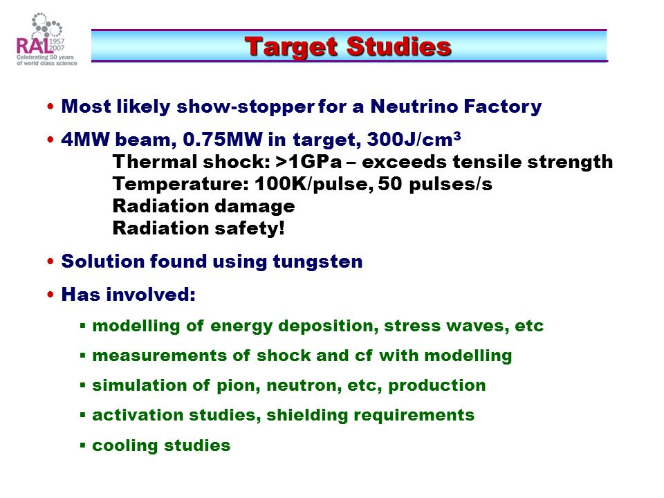 Target Studies Most likely show-stopper for a Neutrino Factory