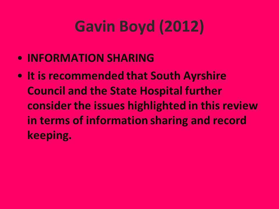 Gavin Boyd (2012) INFORMATION SHARING