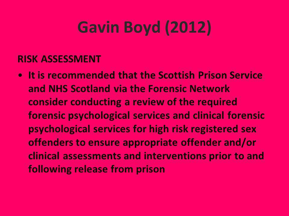 Gavin Boyd (2012) RISK ASSESSMENT