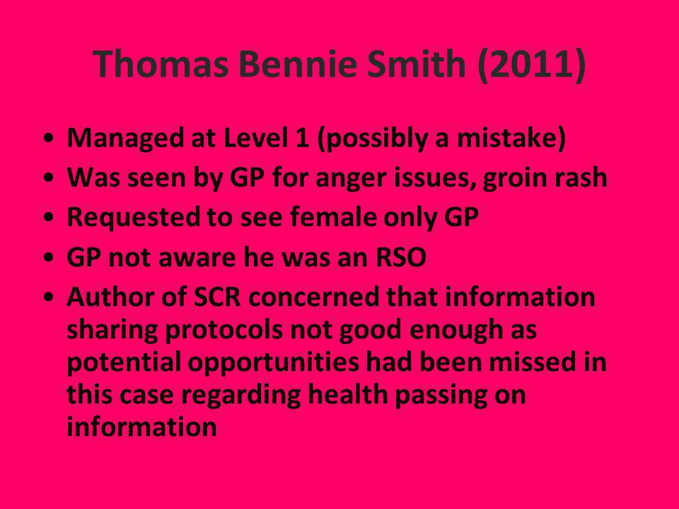 Thomas Bennie Smith (2011) Managed at Level 1 (possibly a mistake)