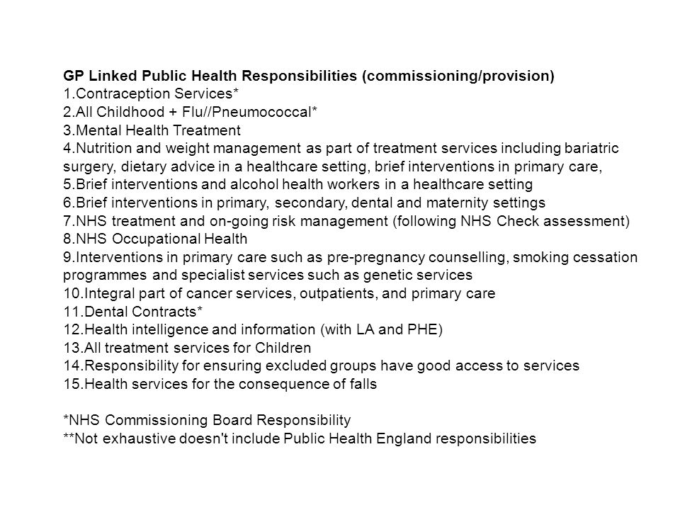 GP Linked Public Health Responsibilities (commissioning/provision)