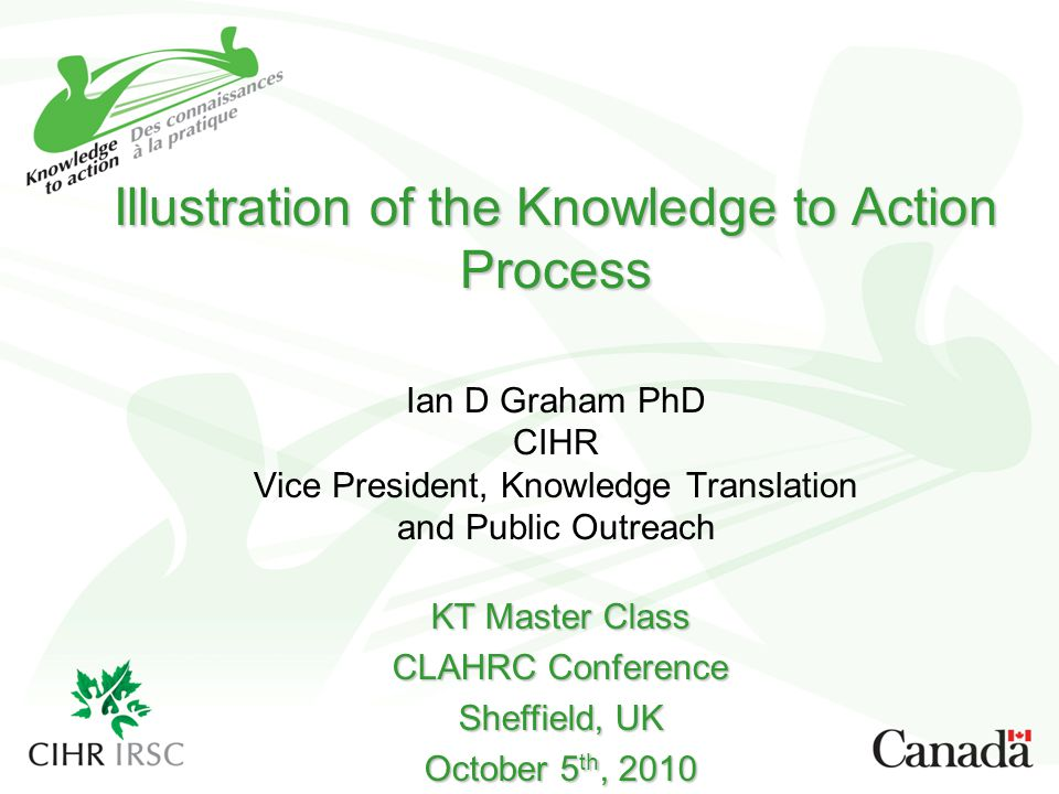 Illustration of the Knowledge to Action Process Ian D Graham PhD CIHR Vice President, Knowledge Translation and Public Outreach