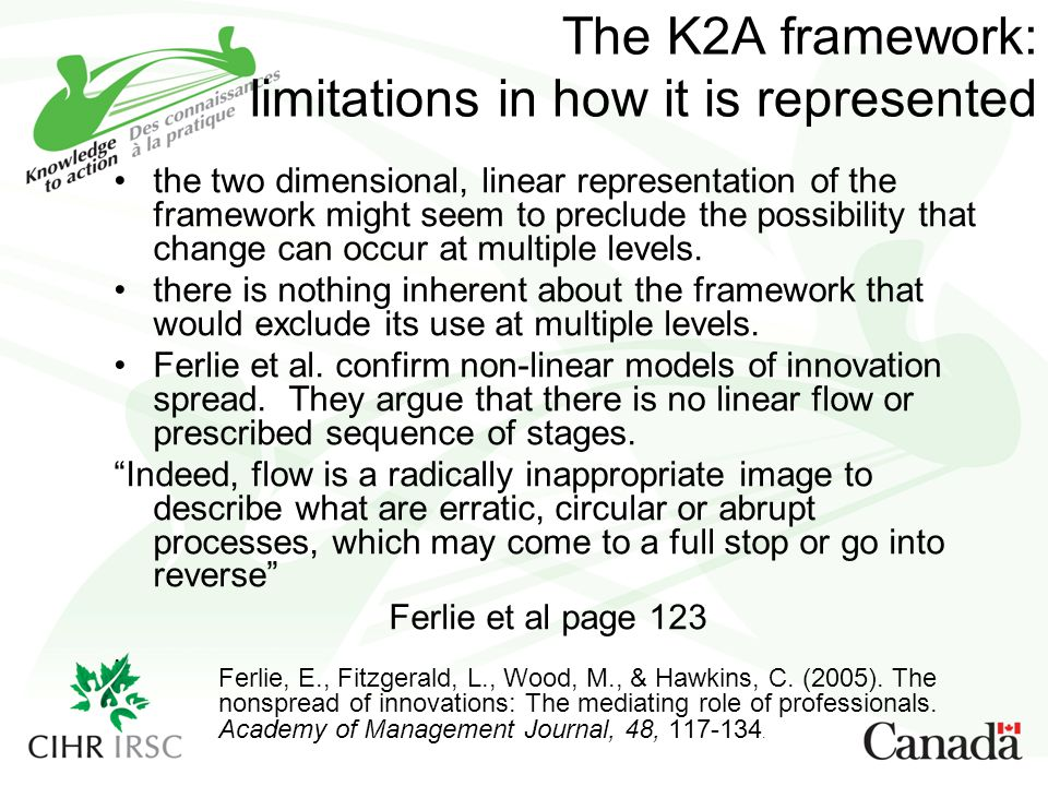 The K2A framework: limitations in how it is represented