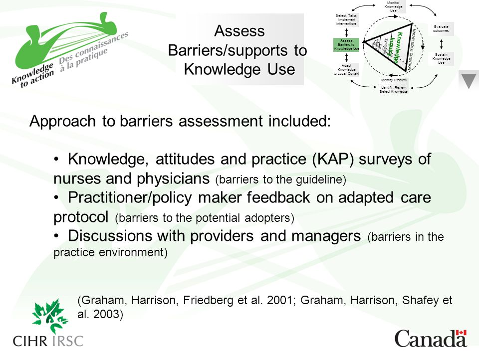 Approach to barriers assessment included: