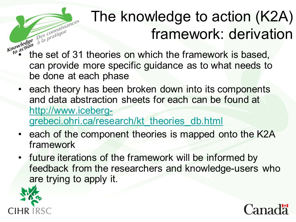 The knowledge to action (K2A) framework: derivation