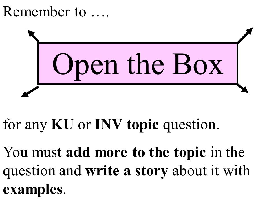 Open the Box Remember to …. for any KU or INV topic question.