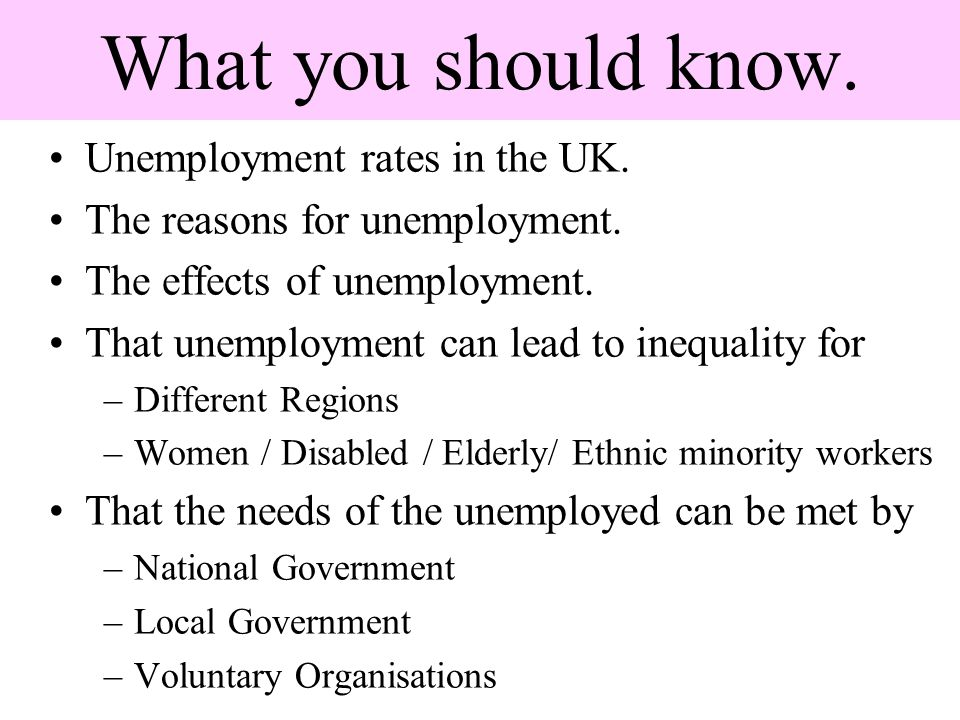 What you should know. Unemployment rates in the UK.