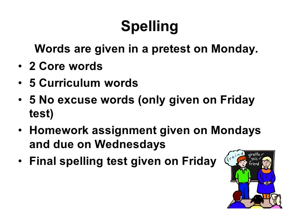 Words are given in a pretest on Monday.