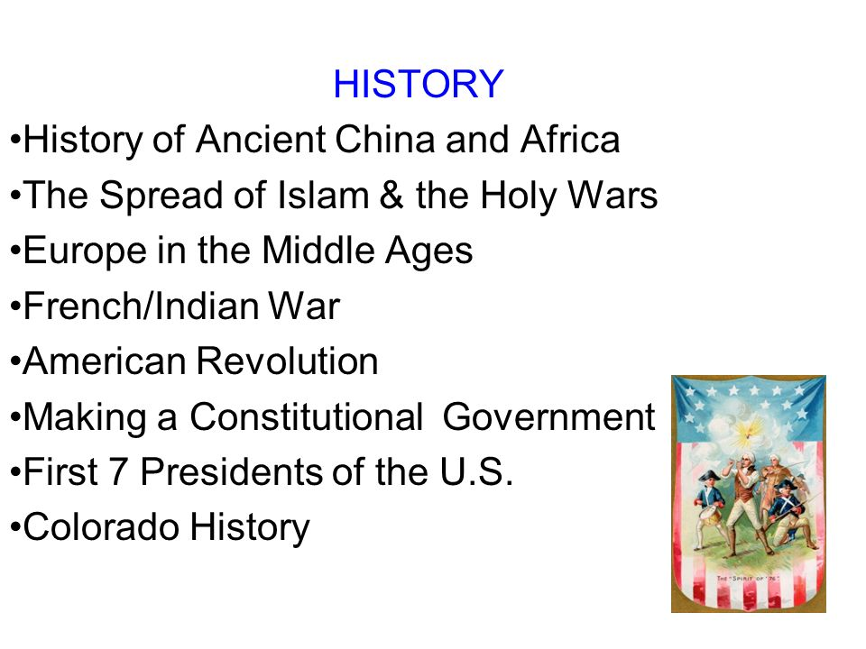 HISTORY History of Ancient China and Africa. The Spread of Islam & the Holy Wars. Europe in the Middle Ages.