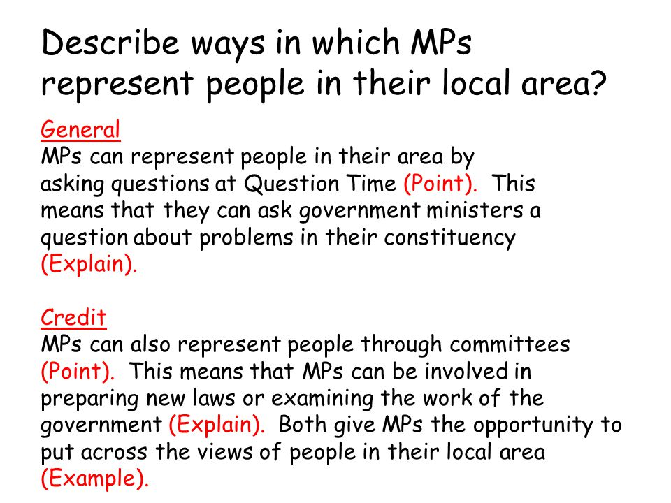 Describe ways in which MPs represent people in their local area