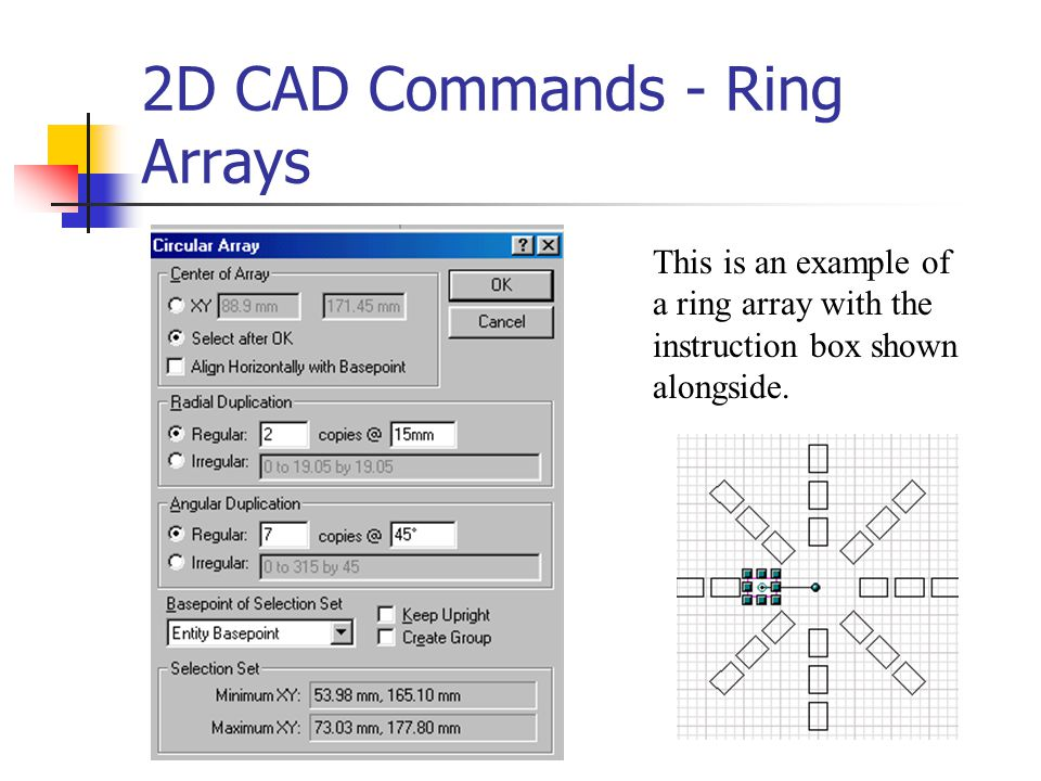 2D CAD Commands - Ring Arrays
