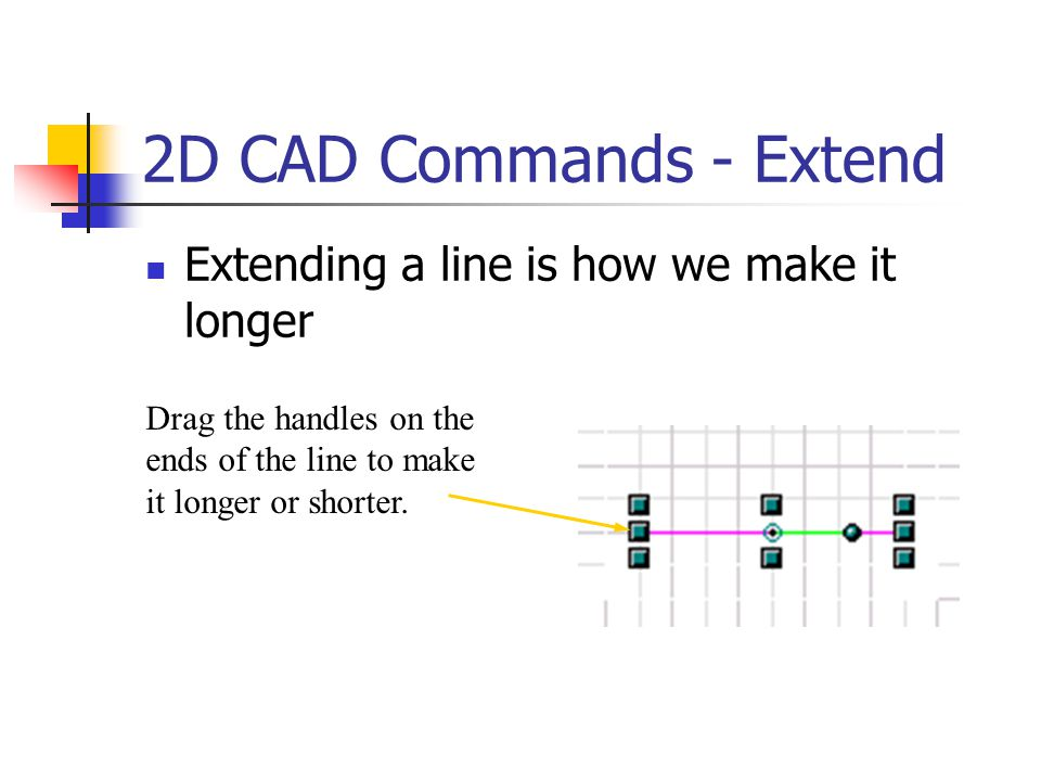 2D CAD Commands - Extend Extending a line is how we make it longer