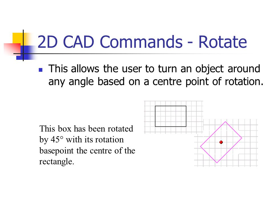 2D CAD Commands - Rotate This allows the user to turn an object around any angle based on a centre point of rotation.