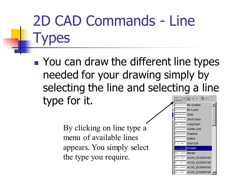 2D CAD Commands - Line Types